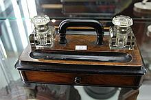 Late 19th Century Timber Desk Tidy with Brass and Glass Ink Wells