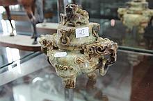 Chinese Carved Stone Lidded Censer