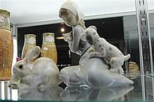 Lladro Figure of Girl with Animals and a Bunny Figure