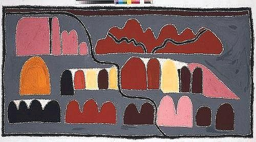 [ AUSTRALIAN / ABORIGINAL ART ] QUEENIE MCKENZIE NAKARRA (CIRCA 1930 - 1998) Wooroiwoordi, Hills at Texas Downs, 1995 natural earth pigments with fixative on linen 122 x 232 cm E70000-90000 Provenance: Private Collection, Victoria. Tineriba Fine