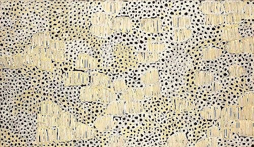 [ AUSTRALIAN / ABORIGINAL ART ] MINNIE PWERLE (CIRCA 1910 - ) Awelye 2002 synthetic polymer paint on canvas 210 x 120 cm E9000-12000 Provenance: Ironwood Arts, Alice Springs. Catalogue Number IW1293. Private Collection, Melbourne. This painting is