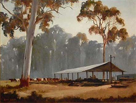 KEVIN BEST (1932-) - The Team Unloading, Wauchope NSW 38 x 50cm