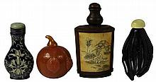 Bone Etched Snuff Bottle & Others Including Peach Shaped