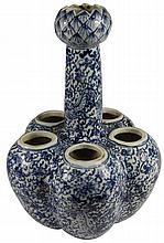 Chinese Blue & White Compound Tulip Vase