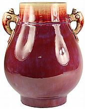Chinese Flambe Double Handled Vase