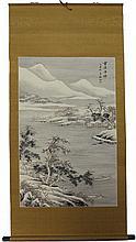 Chinese Fishing Village Scene Scroll
