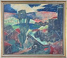 Herbert Kemble(1894 - ) - Rushcutters Bay Oval 1945 (From Roof of Flats Elizabeth Bay) 44 x 51cm,