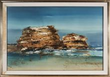 Geoffrey Dyer (1947 - 2020) Hortsea Port Bluff mixed media on paper, (AF - foxing, water damage to frame) 99.5 x 150 cm (frame: 121 ...