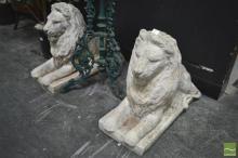 Pair of Concrete Lion Figures