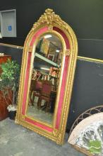Tall Gilt Framed Dome Top Mirror