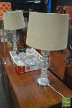 Pair of Glass Base Table Lamps