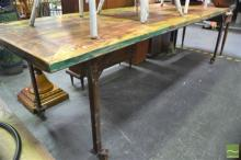 Large Industrial Timber Top Table on Iron Base