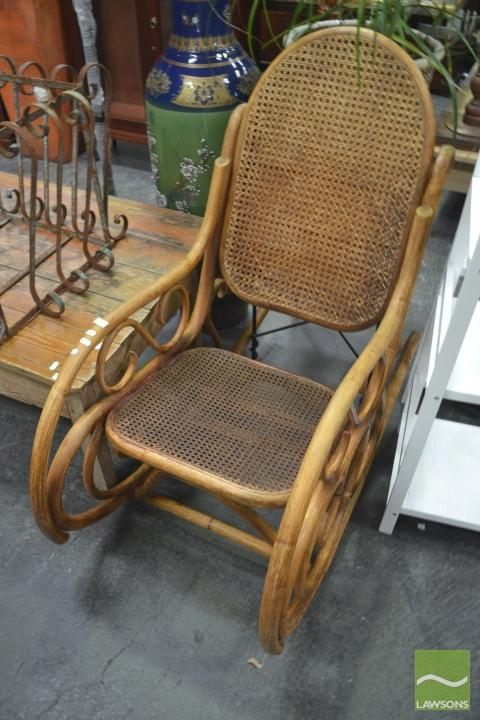 Cane Rocking Chair With Rattan Back And Seat