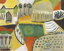 Jill Noble (1962 - ) - Untitled, 1986 (A Country Home Scene) 40 x 50cm
