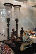 Thai Flautist Figure with Other Decorative Wares incl. Candlesticks