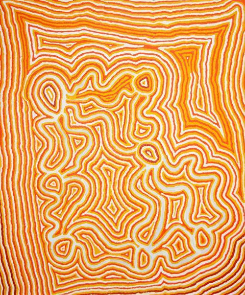 Ningie Nangala (c.1934 - ) - Artist's Country 150 x 180cm (framed & ready to hang)