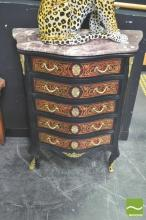 Marble Top Serpentine Front Chest of Drawers
