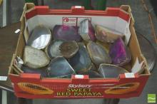 Box of Polished Agate End Pieces, base-cut