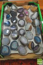 Box of Geode Agate Halves, split & polished