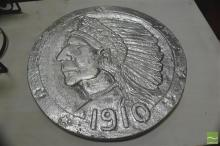 Silvered Disc with Native American