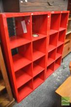 Pair of Red Small Bookshelves