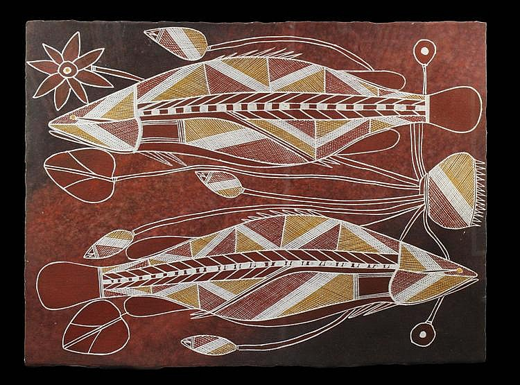 Samuel Namundja - Untitled (Barramundi) 57 x 76cm