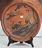 Oriental Style Pottery Charger with Cranes (chip)