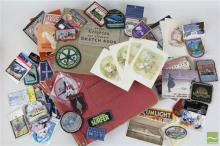 Album of Early Post Cards Together with Sketch Book, Gramohone Records and A Container of Various Woven Badges inc Souvenir and Service