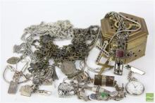 Brass Box of Costume and Silver Jewellery incl cuff links, bracelets, etc
