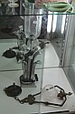 Chrome Floral Form Table Lamp & an Antique Light Fitting
