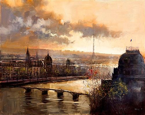 HERMAN PEKEL (born 1956) - Paris Rooftops oil on canvas