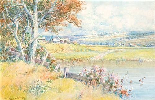 JOHN SAMUEL WATKINS (1866-1942) - Summer Landscape watercolour on paper