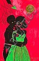 CHRIS OFILI (born 1968, British) - Afro Lunar Lovers 2003 lithograph and hand-applied embossed gold foil, edition: 325/ 350