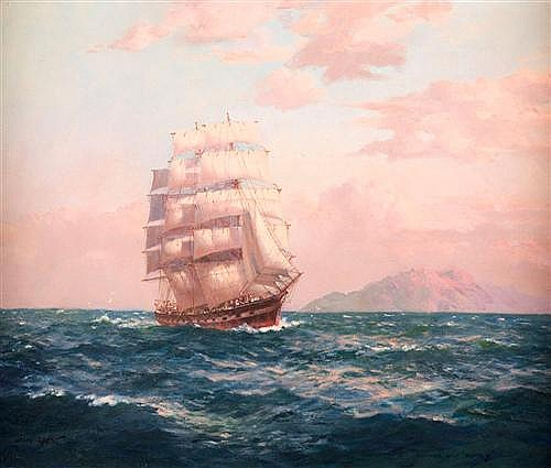 JOHN ALLCOT (1888-1973) - Clipper Ship, Rodney oil on canvas