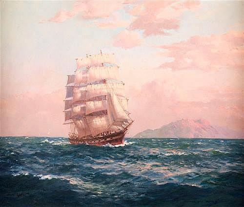 JOHN ALLCOT (1888-1973) - Clipper Ship, Rodney oil on canvas
