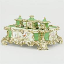 Continental Hand Painted Ceramic Partners Inkwell Desk Set