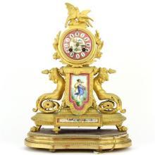 Japy Freres Late 19th Century French Gilt Clock by Phillipe Mourey