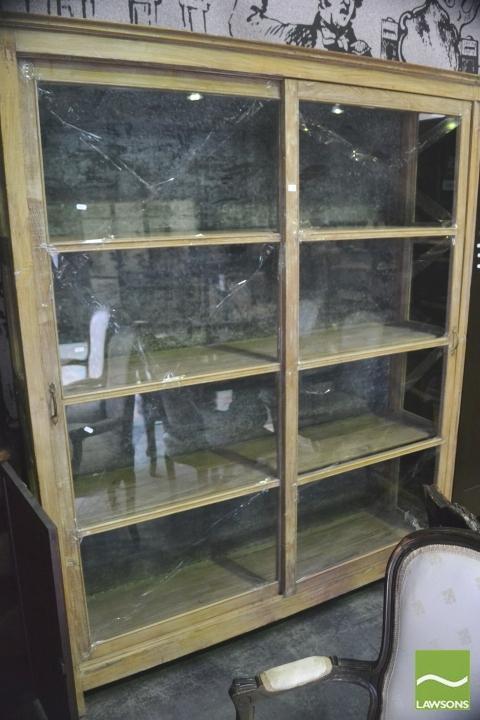 Large Rustic Display Cabinet W Sliding Glass Panel Doors
