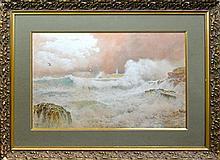 Arthur Suker (1857 - 1902) - Untitled (Tempest Waves) 38 x 58.5cm