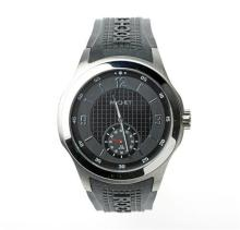 GENT'S ROCHET IGNITION CARBON WRISTWATCH; ref: 101018 with part chequerboard black dial, subsidiary seconds dial, luminous hands, qu...