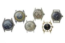 FOUR VINTAGE US MILITARY WATCHES & TWO OTHERS; one with black dial, centre seconds, 12 & 24 hour markers, rear with military marking...