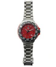 TAG HEUER MEN'S FORMULA 1 QUARTZ WRISTWATCH; ref; WAC1113 in stainless steel with crimson dial, date, Arabic and baton markers, blac...