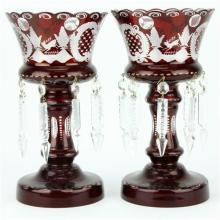 Czech Bohemian Egermann Crystal Ruby Red Pair of Lustres