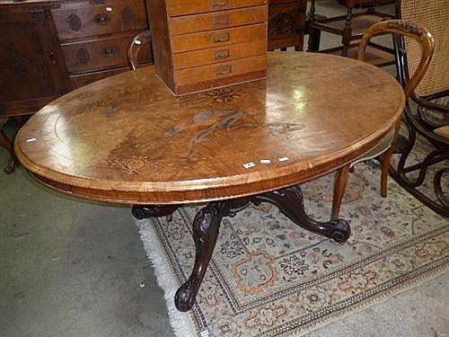 Oval Inlaid Dining Table (A/F)