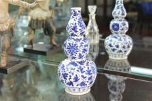 Chinese Blue & White Gourd Vase (Chip to Rim)