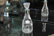English Sterling Silver Necked Etched Glass Decanter