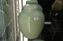 Chien Lung Style Celadon Jar with Lid