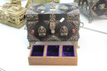 Metal Overlay Jewellery Chest with Stone Inlay On Claw Feet