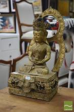 Gilded Buddha Figure Seated in the Lotus Position