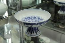 Footed Blue & White Dish